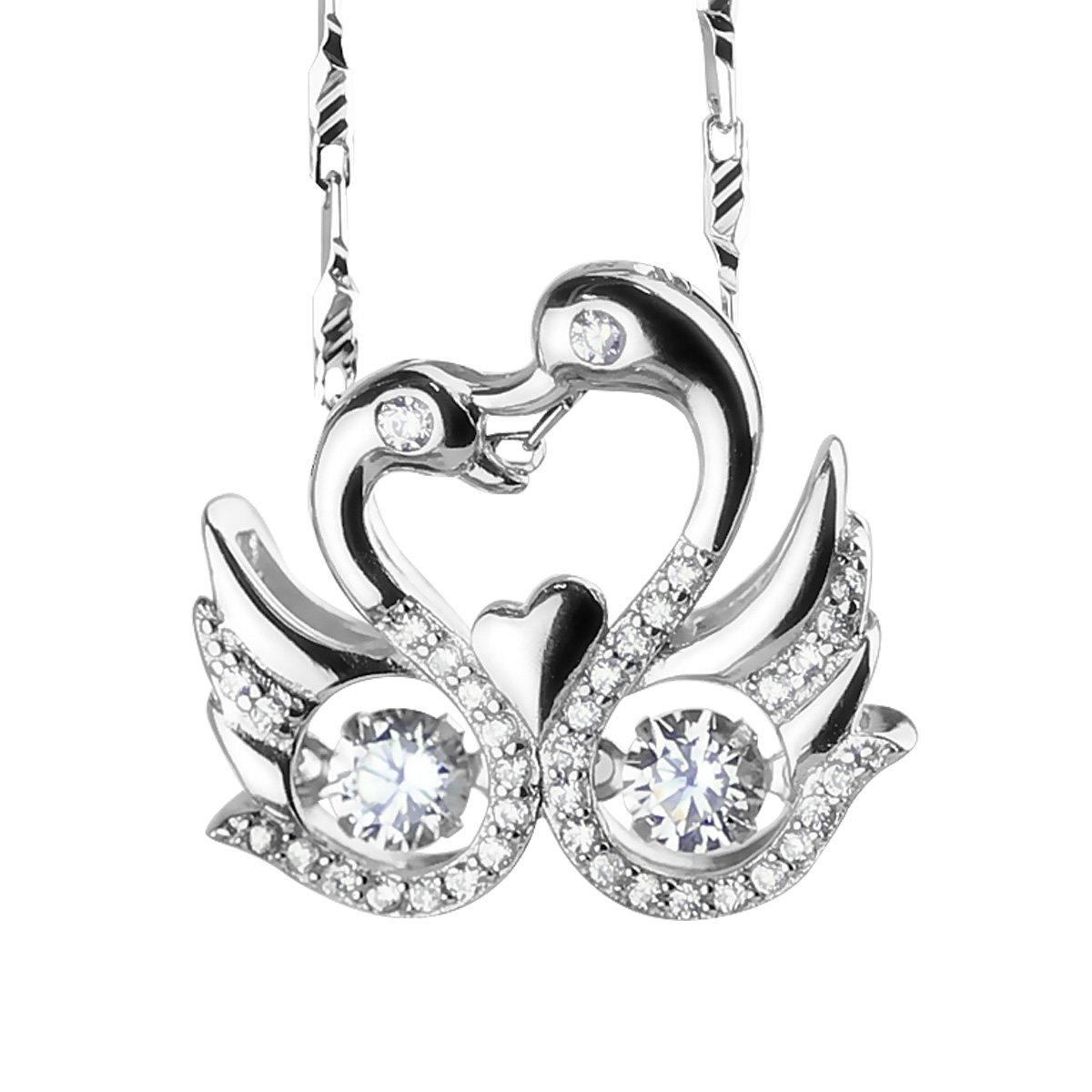 Merdia Women's S925 Sterling Silver Swan Animal Pendant Necklace with Cubic Zirconia - 18''