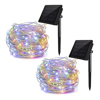 ALHXF Solar Lights String Lights 2 Pack 100 LED Lights - 39 feet 8 Modes Copper Wire Lights Waterproof Outdoor String Lights for Garden Patio Gate Yard Party Wedding Indoor Bedroom