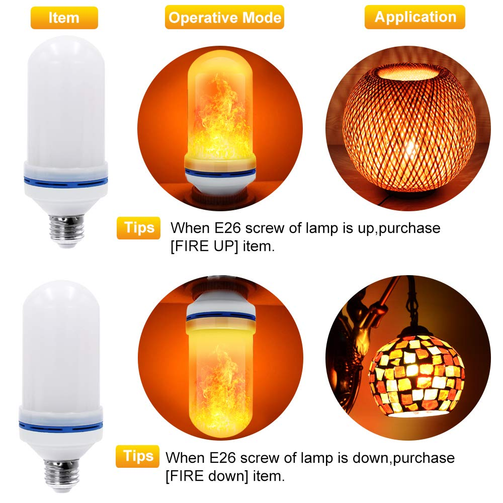 CPPSLEE - LED Flame Effect Light Bulb - 4 Modes with Upside Down Effect -2 Pack E26 Base LED Bulb