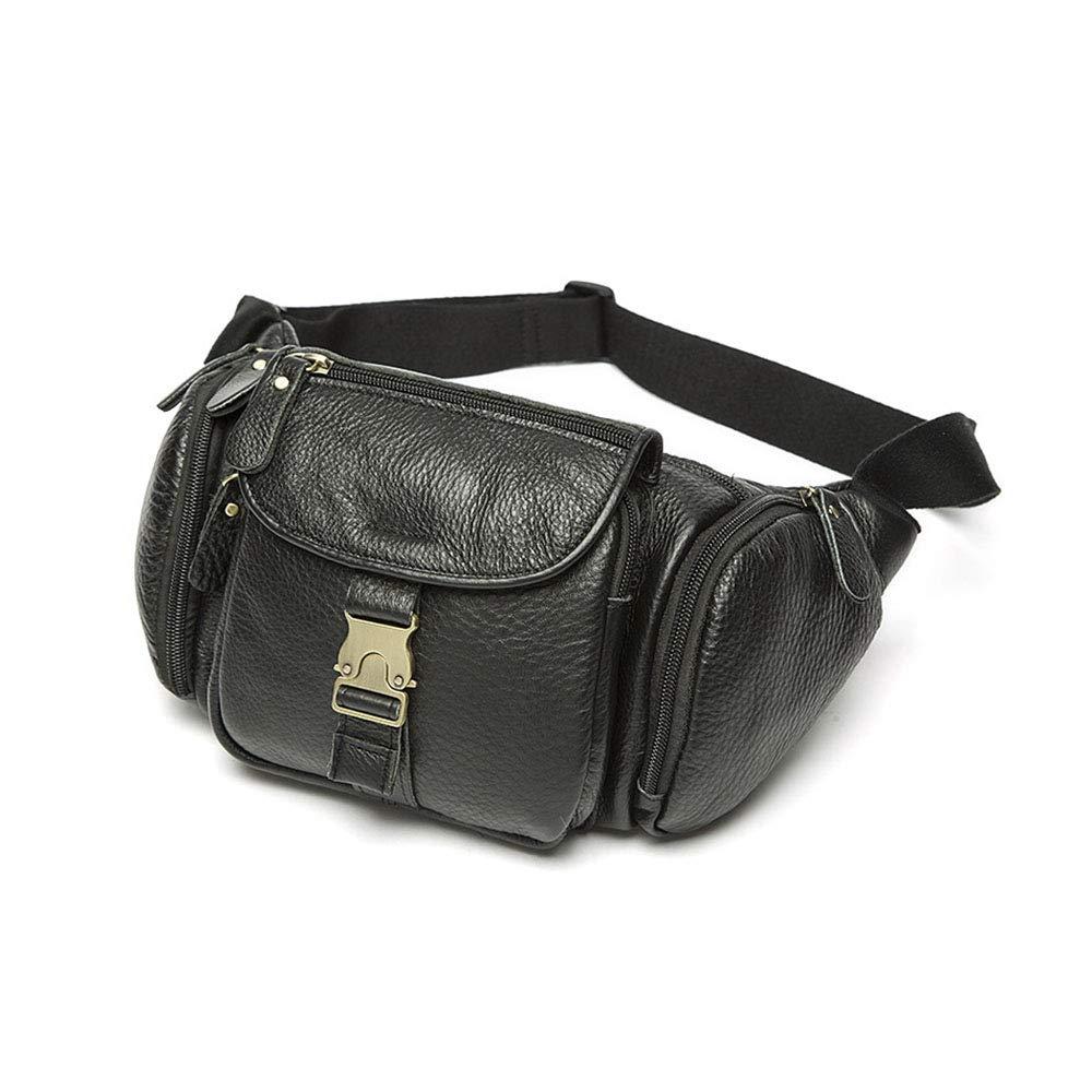 Mäns multifunktionella PU-läder midjeväska kvinnor bärbara bröstväskor mini axelväska telefon handväska kedja rem paket SVART