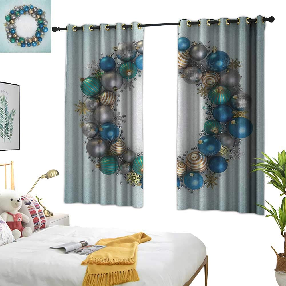 Warm Family Curtain tiebacks Christmas,Vivid Xmas Balls Featured Circle Wreath Traditional Religion Festive Display, Silver Golden 72''x108'',Darkening Drapes Thermal Insulated