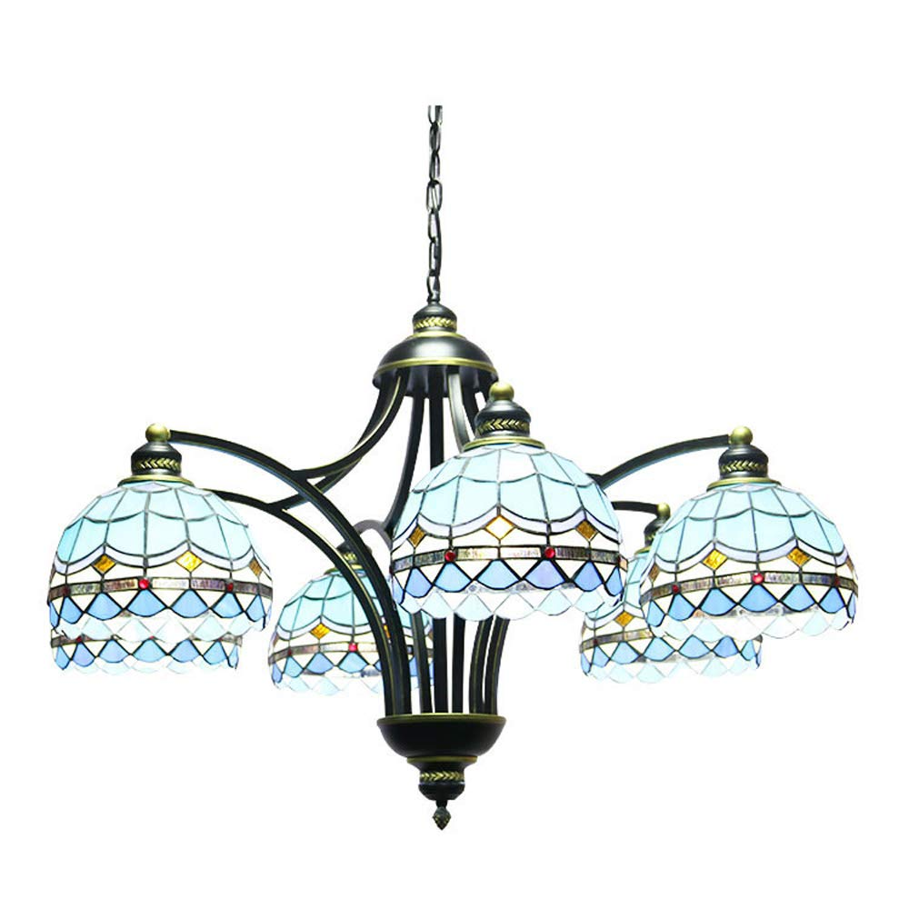 SMGHF Blue Beauty Hotel Mediterranean Country Study Bedroom Lamp Tiffany Multi-Head Wrought Iron Chandelier, E276