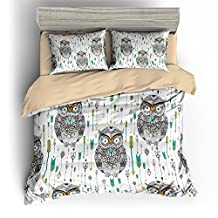 BOMCOM 3D Digital Printing Custom-made Ethnic Patterned Eagle Owl Tribal BOHO Style 3-Piece Duvet Cover Sets Twin Full Queen King 100% Microfiber a Variety of Designs (King, Owl & Arrow)