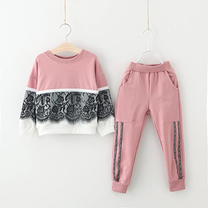 d61997cbdcb5 Amazon.com  Toddler Baby Girl Patchwork Lace Sport Pullover Tops+Pants  Vibola  Clothing