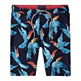 Scotch & Soda Men's All-over Parakeet Print Swim Shorts, Navy/Blue Medium Navy/blue
