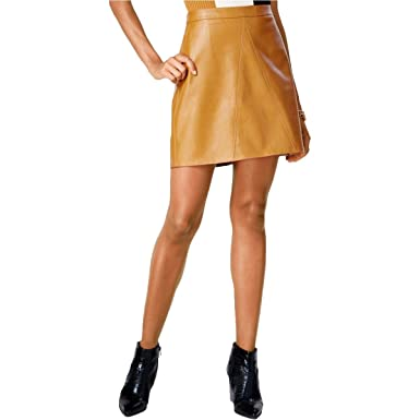 9c7978aeb Bar III Womens Faux Leather Seamed Mini Skirt at Amazon Women's ...