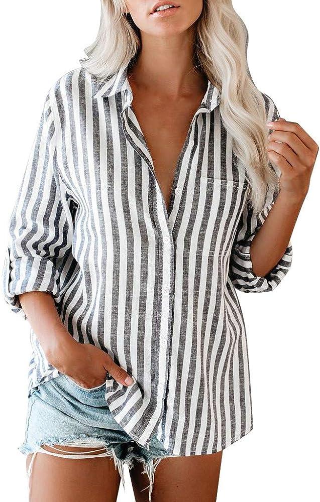 COZOCO Camisa Casual para Mujer Camisa De Manga Larga Enrollable Camisa De Bolsillo con Hebilla Delantera: Amazon.es: Ropa y accesorios