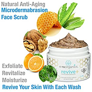 Microdermabrasion Face Scrub & Facial Mask in One 4oz. Natural Facial Exfoliator with Manuka Honey & Walnut for Dull or Dry Skin, Wrinkles, Blemishes, Acne Scars & More. Exfoliate, Moisturize & Renew