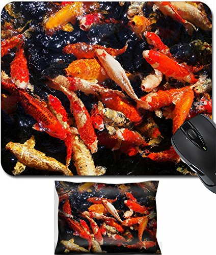 MSD Mouse Wrist Rest and Small Mousepad Set, 2pc Wrist Support design 36167727 Beautiful frenzy japan koi fish in the - Japan Koi High Quality