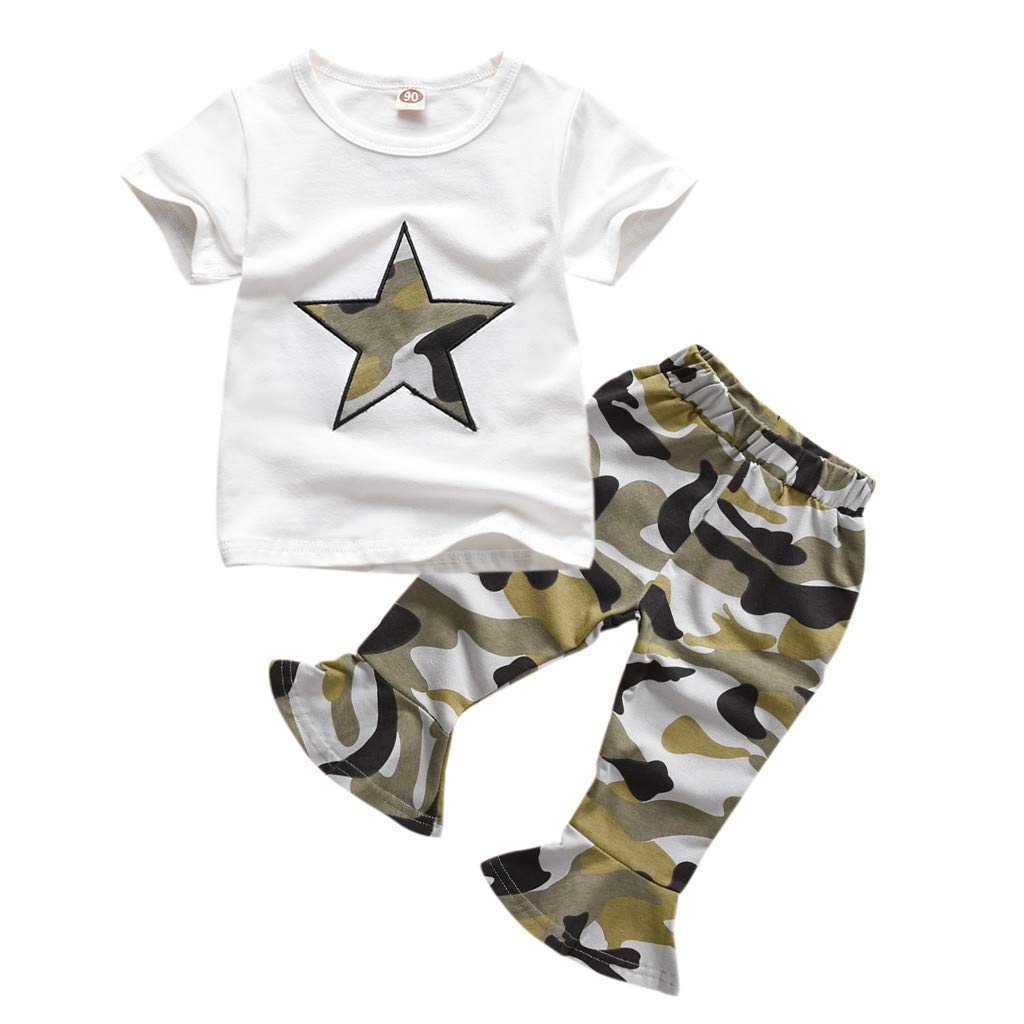 ❤️ Mealeaf ❤️ Kid Toddler Infant Baby Girl Star Tee Tops+Camouflage Flared Pants Outfits Set(White,90)