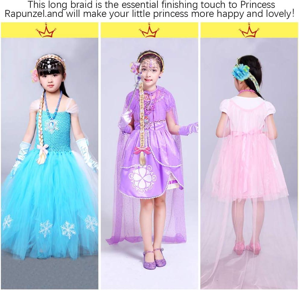 rose, bleu, violet YOUKCDT 3 ensembles princesse habiller bandeau 70 cm fleur tress/é perruques emm/êl/ées tissage tresse longue perruque de cheveux dor pour les accessoires de costume de filles