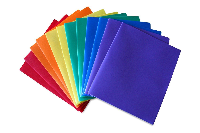 Robusta cartelletta in plastica a 2 tasche STEMSFX (confezione da 6 cartelline portadocumenti di colori assortiti) per documenti in formato lettera, comprende un'apertura per biglietti da visita 1007