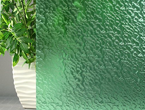 Dark Green Rippled, Decorative, Privacy, Window Film (35''x12ft) by Window Film and More