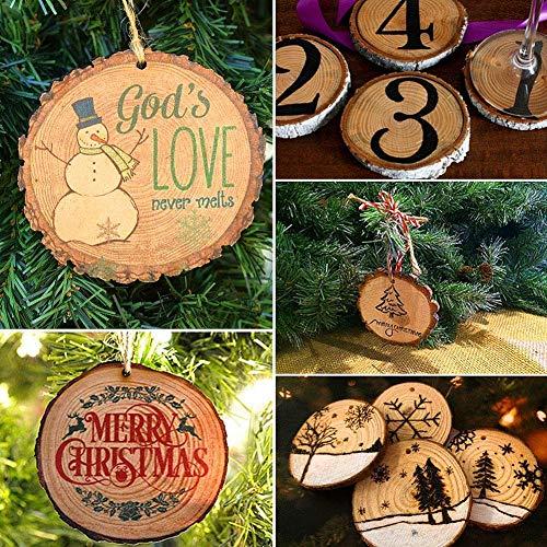 manualidades de bricolaje discos de madera innovadores 50 piezas de adornos navide/ños peque/ños c/írculos pintura, rodajas de pino peque/ñas y redondas de 5-6 cm // 1.97-2.36 pulg