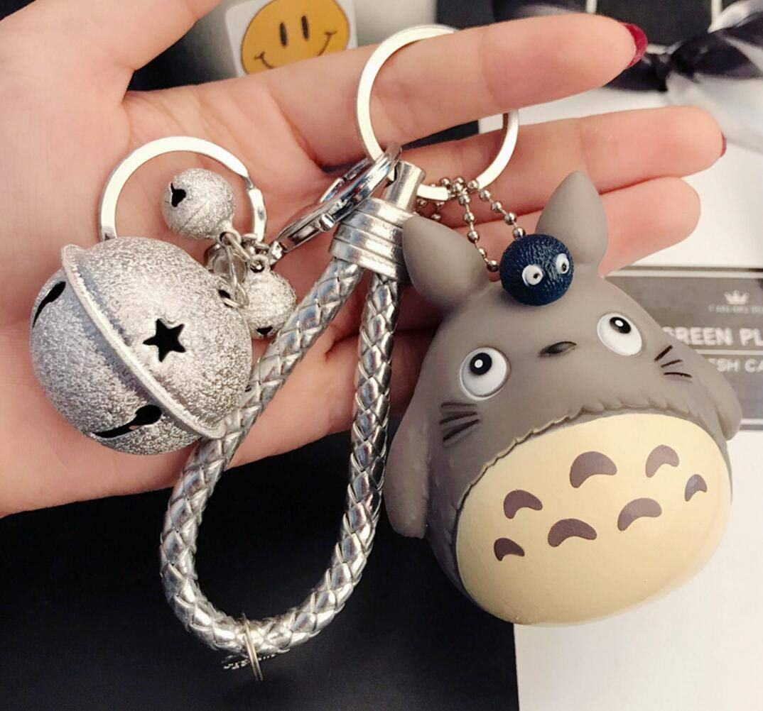 1 Pcs New Cute Kawaii Cartoon Cat Silver Bell Totoro Keychain Wrist Rope Key Chains Novelty Creative Toy Gift Accessories Fashion Ornaments Coin Purse ...