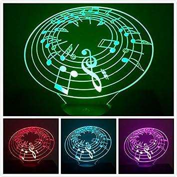 Amazon.com: 3d Música Nota Luz Nocturna 7 cambio de color ...