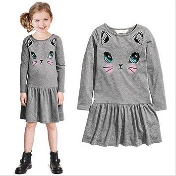 3ce6da06465bf CHD 可愛い猫柄 ベビー服 ガールズ キッズ 女児 女の子 長袖 ワンピース フォーマル 猫顔柄 ミニ