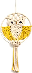 """ARTALLBoho Owls Macrame Woven Tapestry Wall Hanging for Bedroom, Handmade Wall Decoration, Yellow, 12"""" W x 22"""" L"""