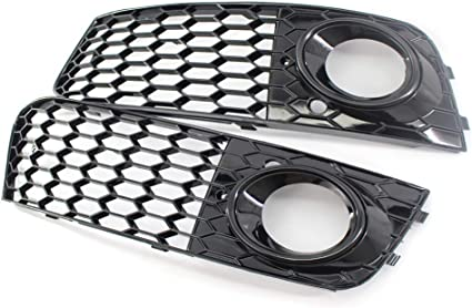 Fog lampshade A4 B8 09-12 RS4 style honeycomb hex mesh fog light open vent grill intake Black