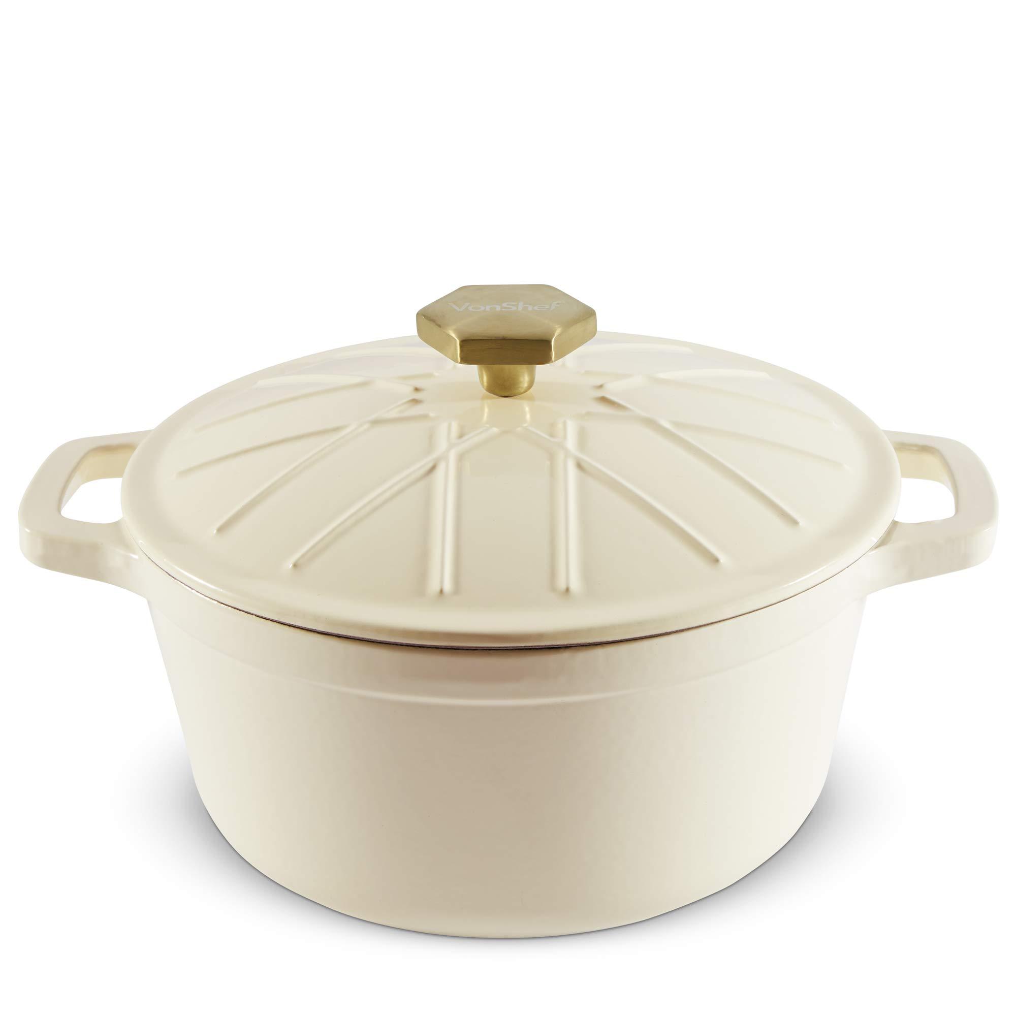 VonShef Cast Iron Round Dutch Oven Pot Casserole Dish, Naturally Non Stick Stain and Odor Resistant, Enamel Coated Cream, 11.5 Inch Diameter, 6.3 Quarts