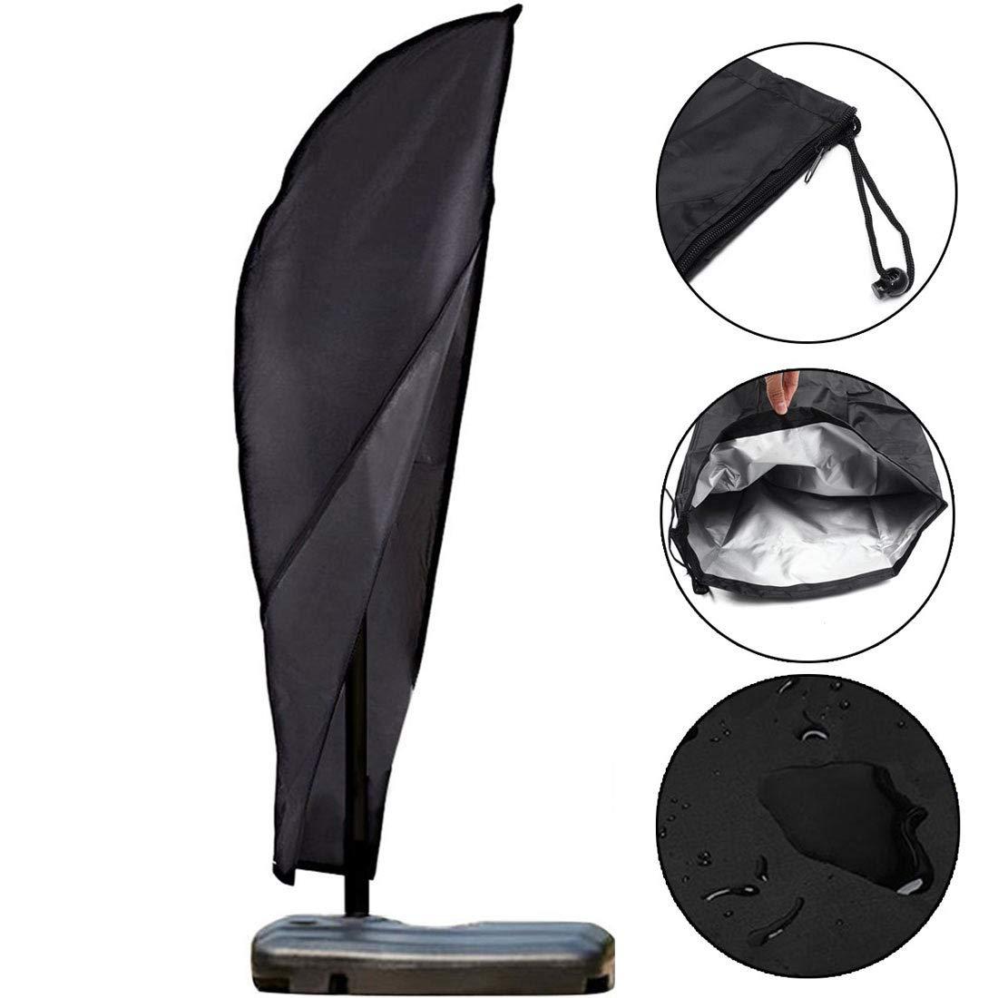 Outdoor Parasol Cover Breathable Oxford Fabric with Zipper Banana Heavy Duty Cantilever Umbrella Cover for Garden and Patio Black