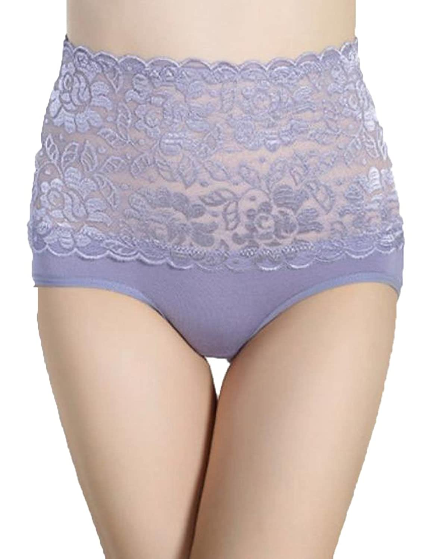 Vska Women's Hi-Waist Breathable Active Sexy Solid Lace Lingerie Brief