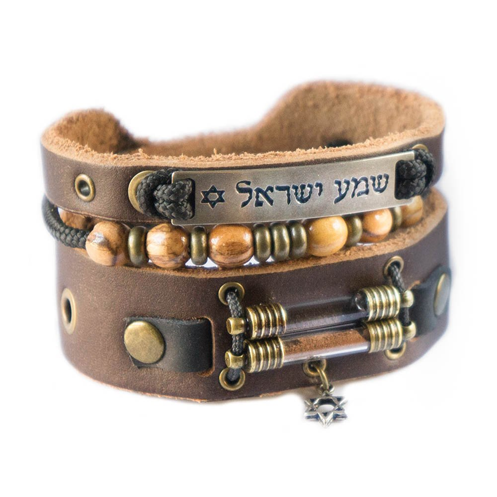 Holy Land Bracelet with Olive Wood Beads, Jordan River Holy Water and Jerusalem Earth (Men size: 7.5 - 8.5 Inches) by Rani Shoket