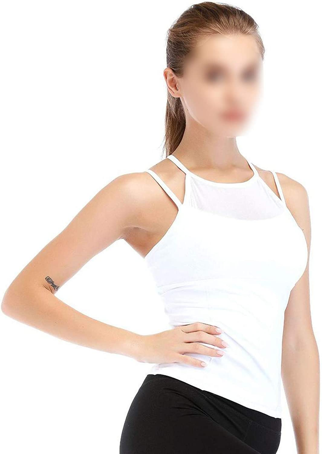 Women Casual Patchwork Slim Tank Sports Top Pullover Vest All Seasons