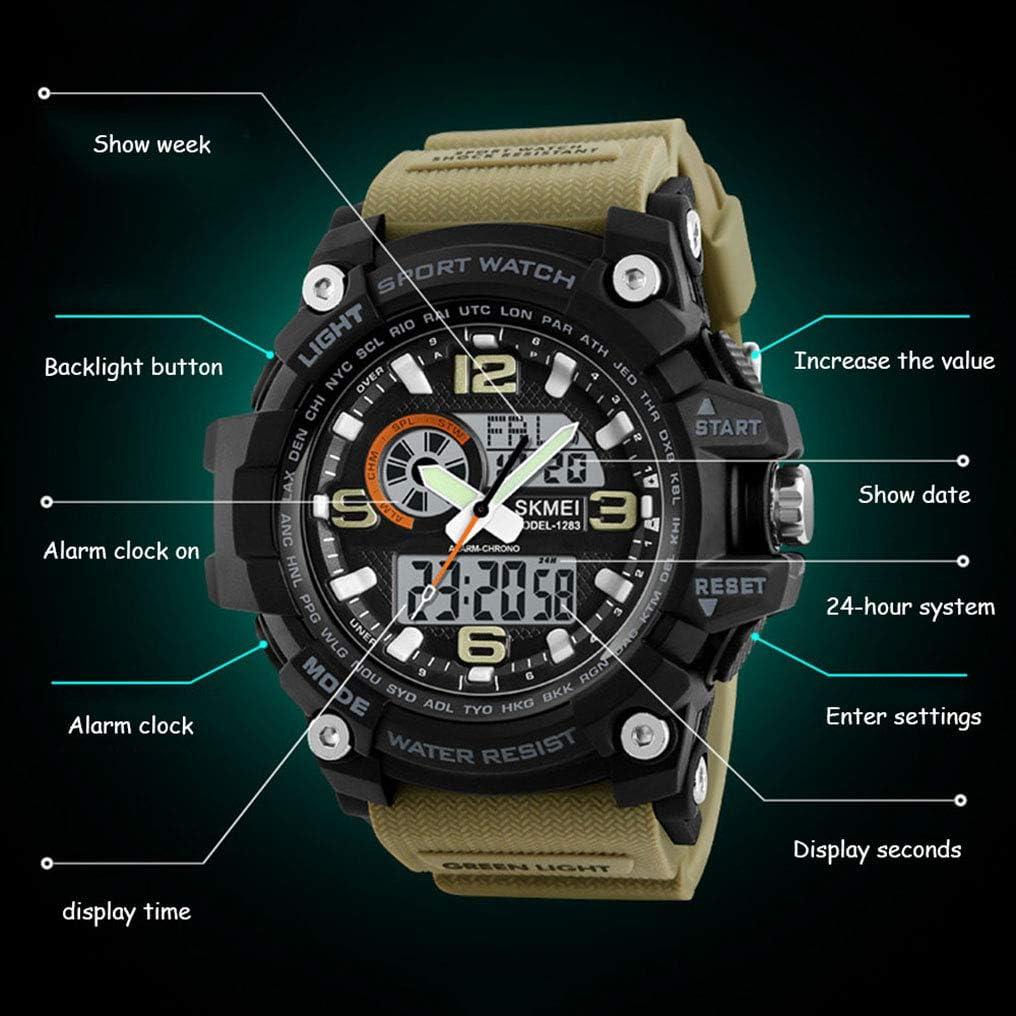 Montre de sport numérique pour homme avec 3 horloges, format 12/24 heures, affichage de la semaine, alarme, compte à rebours, montre numérique étanche chronographe 50M pour les adolescents-green khaki