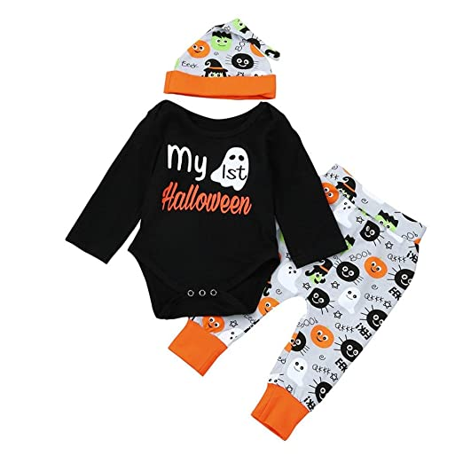 amazoncom halloween clothesankola baby boy girls my 1st halloween romper bodysuit printed hat pant sets clothes outfits clothing