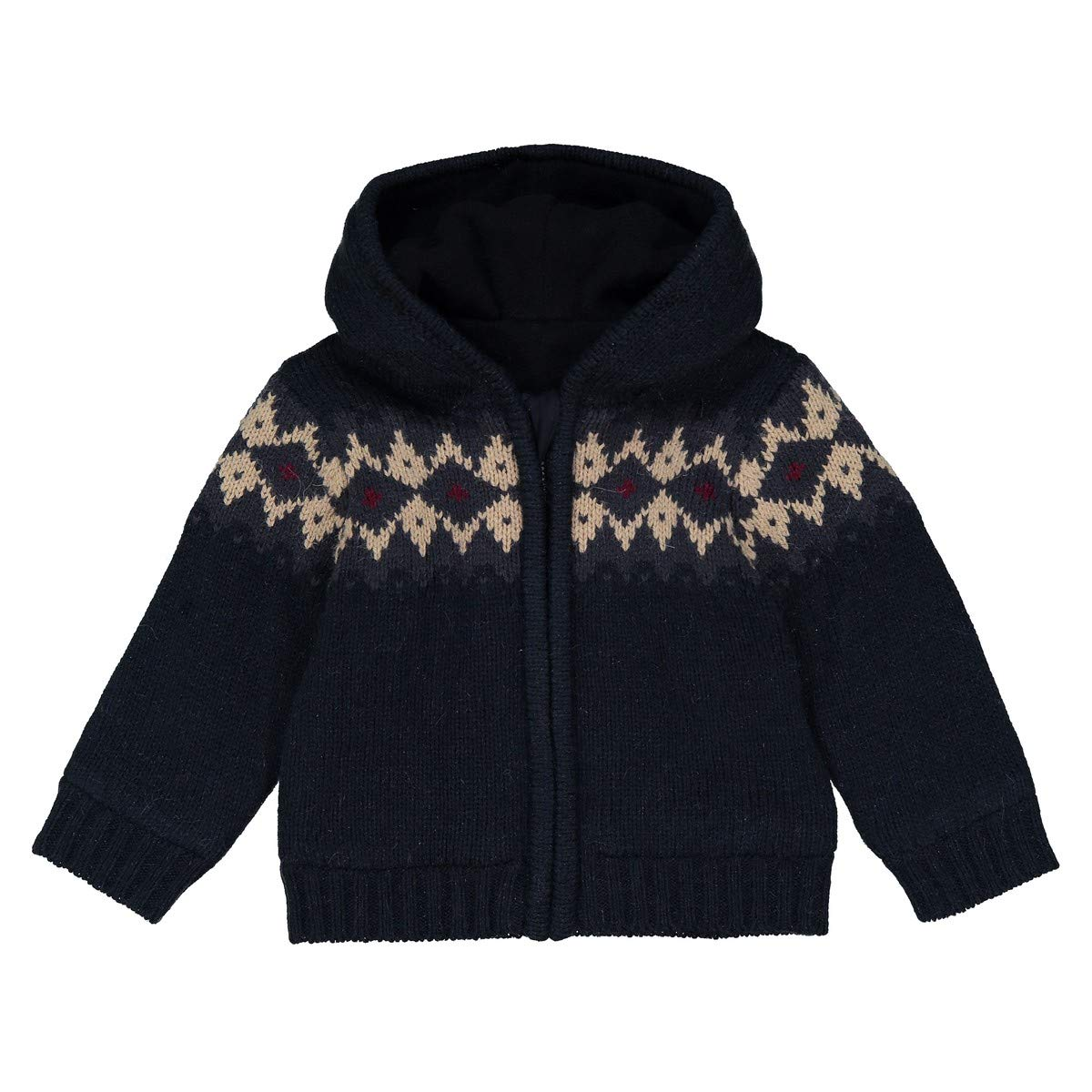 1 Month-3 Years La Redoute Collections Big Boys Jacquard Hooded Cardigan