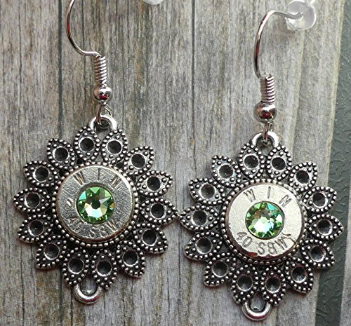 Ring Crystal Peridot Swarovski (WIN 40 Caliber Bullet Earrings with Swarovski Peridot Crystals)