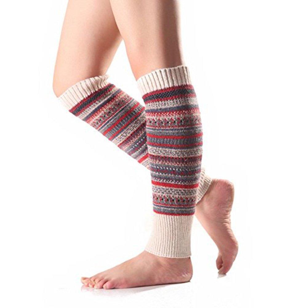 AchidistviQ Calzamaglia scaldamuscoli donna etnico lavorato a maglia in lana a righe calzettoni stivale Beige