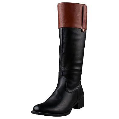 da0da2a2f6d0 Amazon.com | Refresh Alto-03 Women's Low Heel Side Zipper Knee High Two  Tone Riding Boots, Black/Cognac, 7 | Knee-High