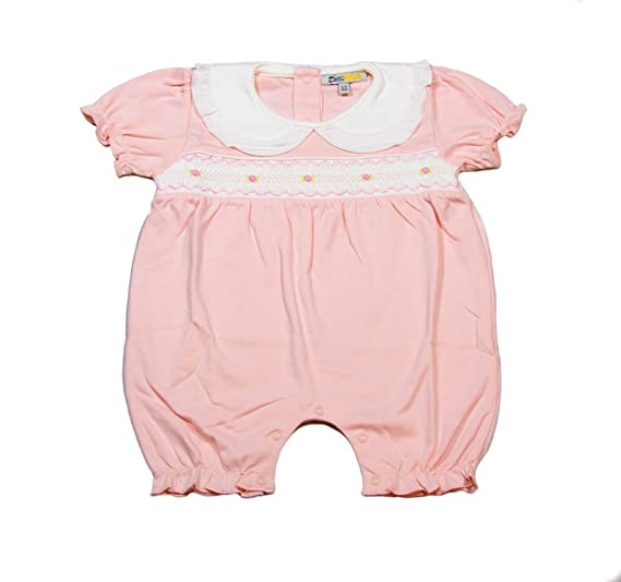 55b99c0b447e2 Amazon.com: Baby Girls' Hand Smocked Romper, Pink Easter Christening Outfit  100% Organic Pima Cotton Romper: Clothing