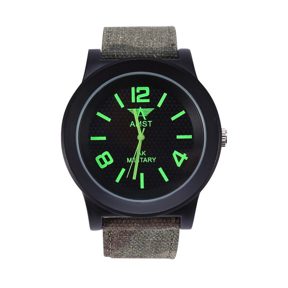 VGEBY Analog Quartz Watch, Glass Dial Plate Military Wrist Watch with Camouflage Band for Men Women(Green)