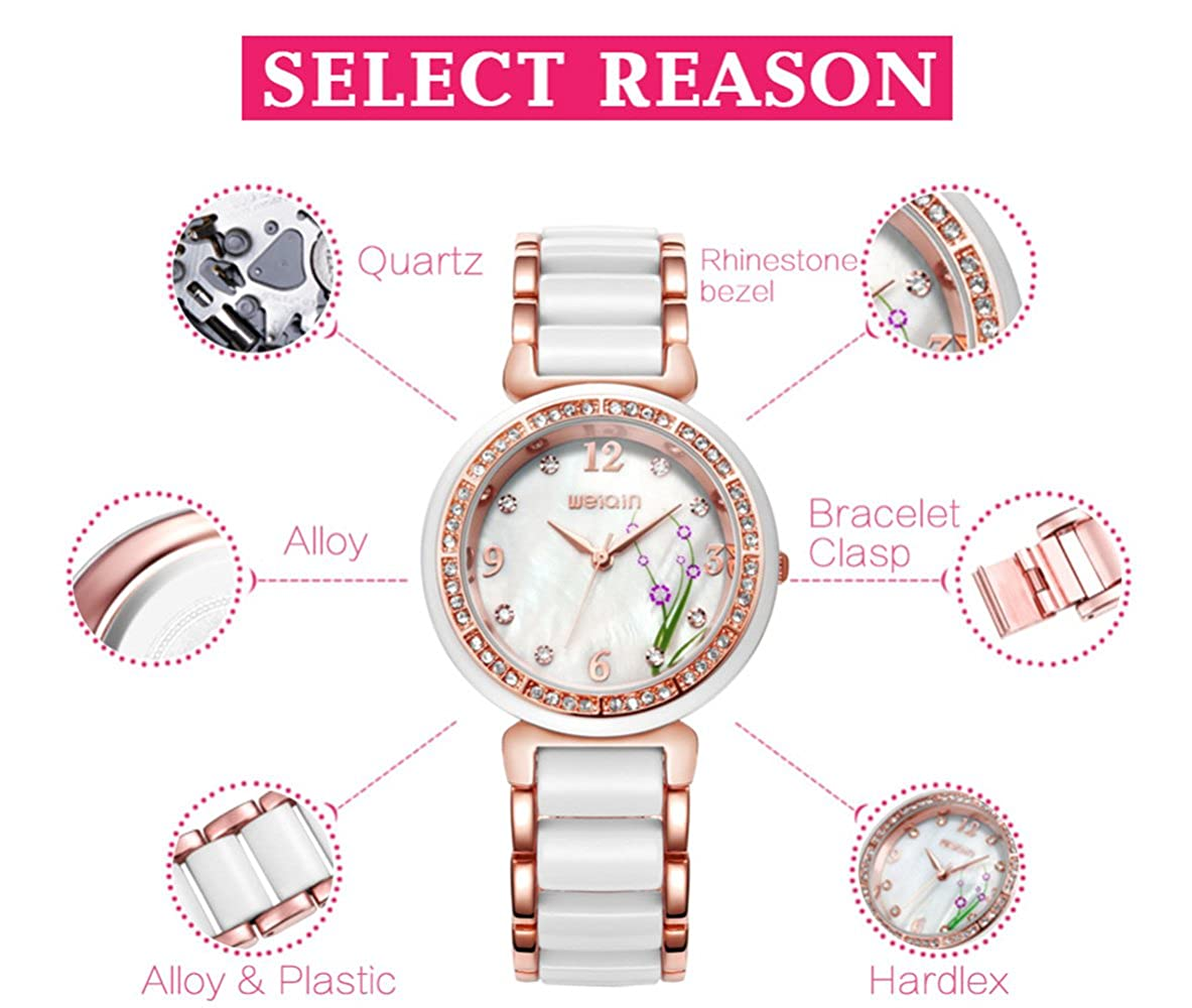 Amazon.com: Fanmis Flower Rhinestone Gold White Analog Quartz Waterproof Ladies Watch Alloy Ceramic Strap: Watches