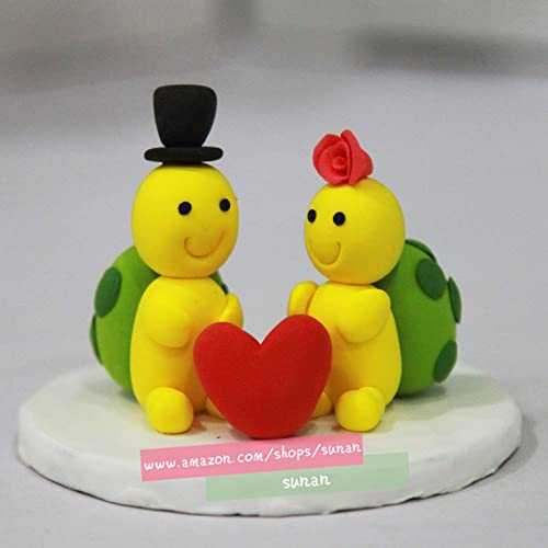 Amazon Com Wedding Cake Topper Turtle Wedding Clay Doll Animal
