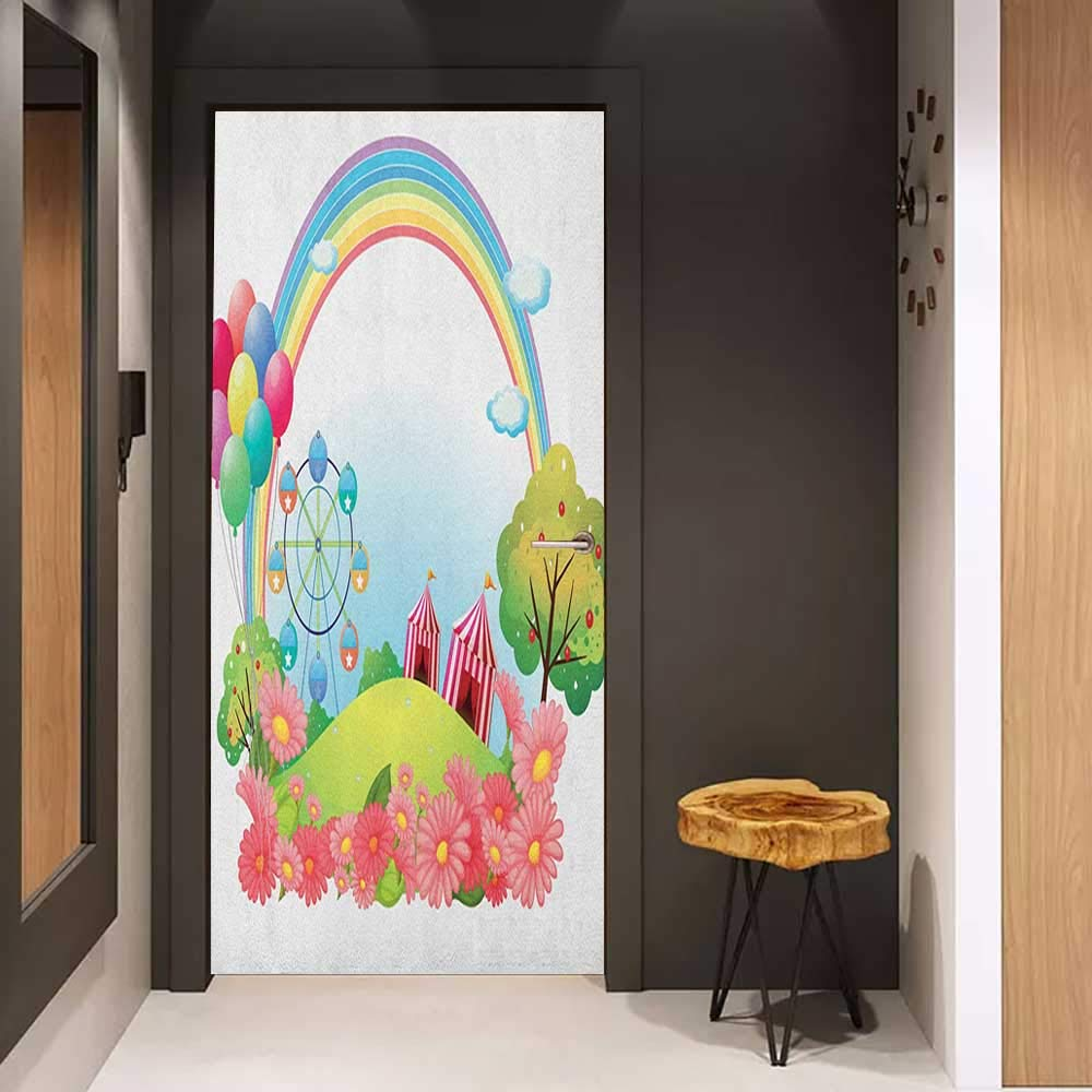 Onefzc Pantry Sticker for Door Circus Village Hill with Circus Tents Balloons and a Ferris Wheel Rainbow Colors Daisies Sticker Removable Door Decal W36 x H79 Multicolor by Onefzc