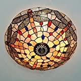 Vintage Tiffany Dragonfly Stained Glass Ceiling Light Hanging Pendant Lamp(40CM)