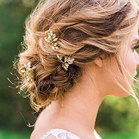 Venusvi Bridal Wedding Hair Pins for Women and Girls -Party and Evening Hair Pins 3 pieces (Hair Pin Gold)