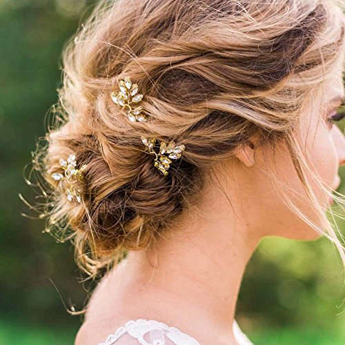 Venusvi Bridal Wedding Hair Pins for Women and Girls -Party and Evening Hair Pins 3 pieces