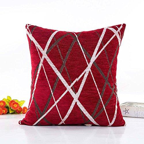 LLNONG Fashion Soft Chenille Plush Stripe Pillow Case Sofa Waist Throw Cushion Cover Home Decor Pillowslip ()