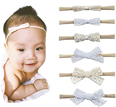 Newborn Baby Toddler Girls Bow Leather Fabric Headband Nylon Hair Band Accessory