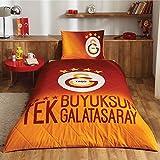 LaModaHome 2 Pcs Luxury Soft Colored Bedroom Bedding 100% Cotton Licensed Single Bedspread Set/Tek Büyüksün Galatasaray Yellow And Red Soccer/Single Bed Size