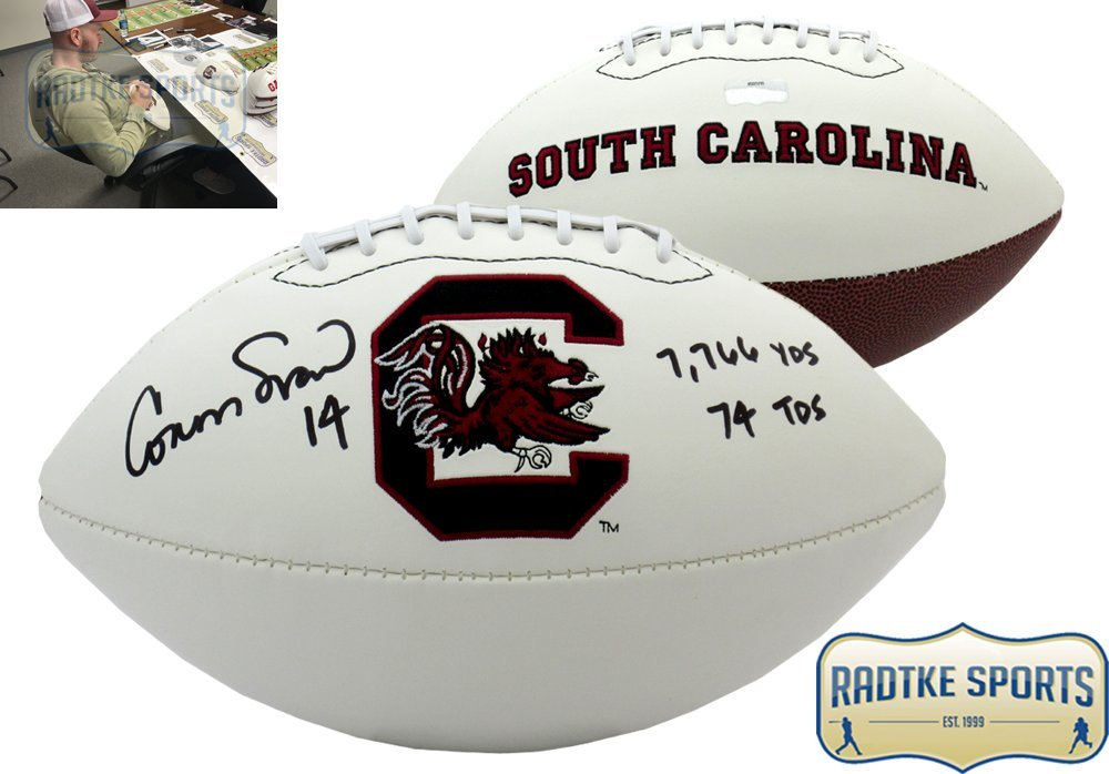 Connor Shaw Autographed/Signed South Carolina Gamecocks Logo Football with Career Stats Inscription Radtke Sports
