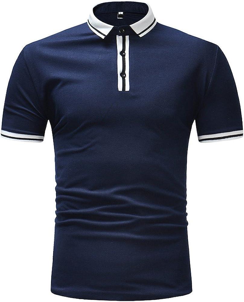 DEELIN Tops Camiseta para Hombre Hombres Moda Negocio Slim Fit Stand Camisa Blusa De Manga Corta Top Rayas Camiseta: Amazon.es: Ropa y accesorios