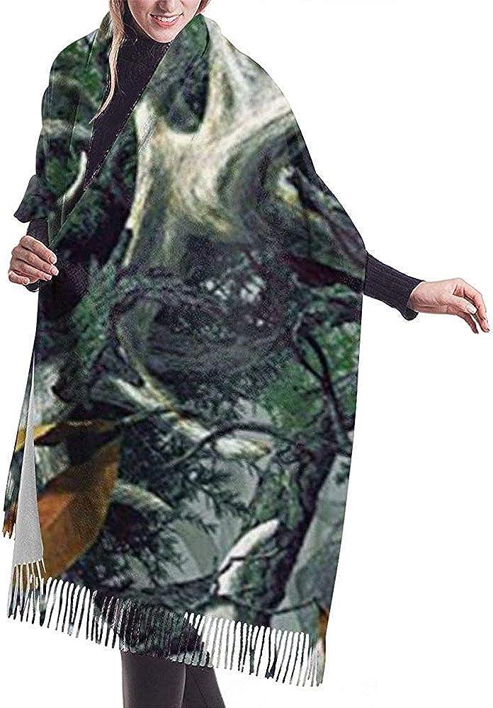 Elaine-Shop Bufanda para mujer Cráneo de ciervo realista Estampado de camuflaje Bufanda a cuadros con borla clásica Bufanda cálida de otoño e invierno