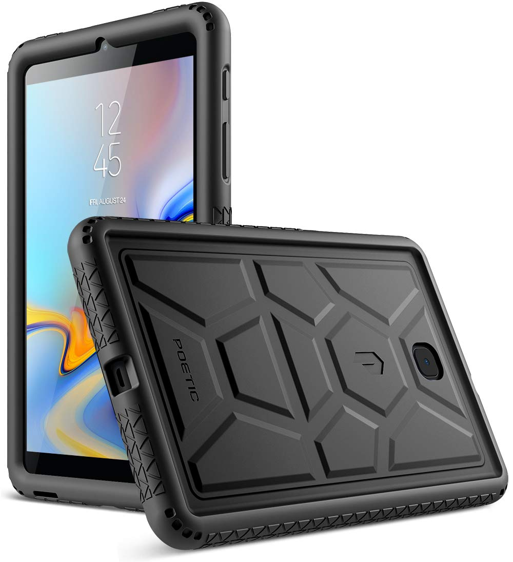 Galaxy Tab A 8.0 2018 Case, Poetic TurtleSkin Series [Corner/Bumper Protection][Grip][Bottom Air Vents] Protective Silicone Case for Samsung Galaxy Tab A 8.0 (2018) SM-T387 Verizon - Black