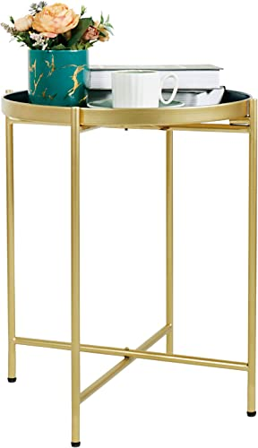 Deal of the week: Side Table Small Metal End Table Gold Blue Round Tray Foldable Accent Coffee Table